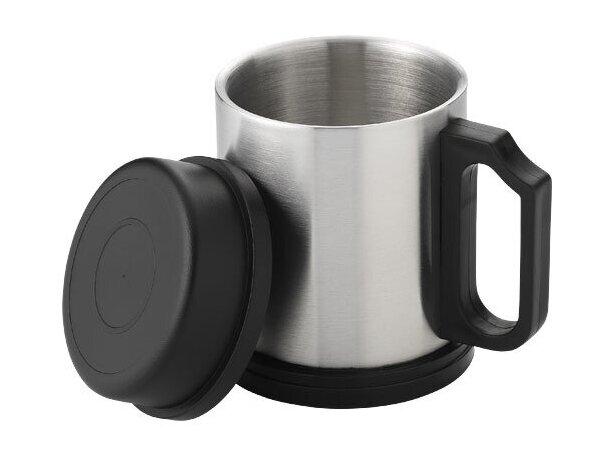 Taza Isotérmica en acero con tapa plata
