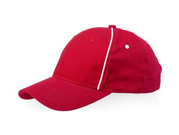 Gorra con 6 paneles y detalles de color con logo roja