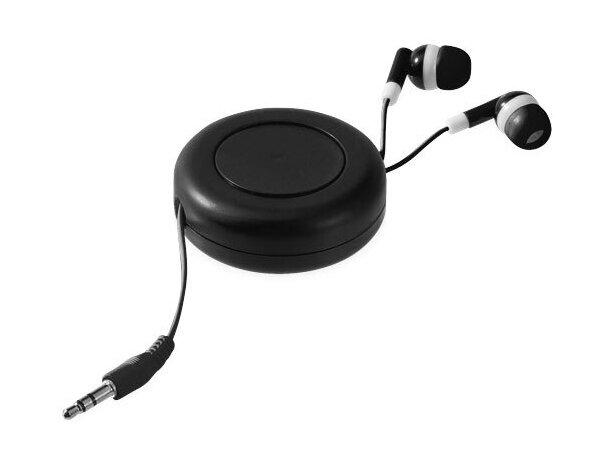 Cascos auriculares retráctiles para múltiples dispositivos personalizado negro intenso
