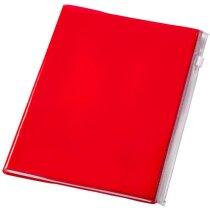 Cuaderno tamaño A5 con tapas de plástico personalizado rojo transparente