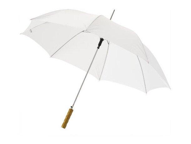 """Paraguas automático de 23""""y mango de madera personalizado blanco"""