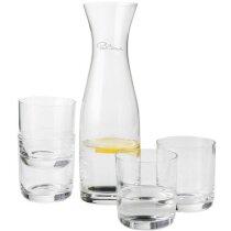 Set de botella de cristal y 4 vasos transparente