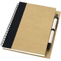 Libreta con bolígrafo y detalles a juego personalizada blanco roto