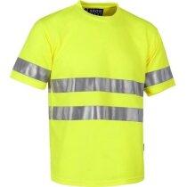 Camiseta con bandas reflectantes de manga corta personalizada amarilla