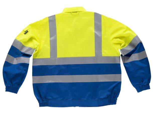 Cazadora de algodón bicolor con reflectantes azulina amarillo a.v.