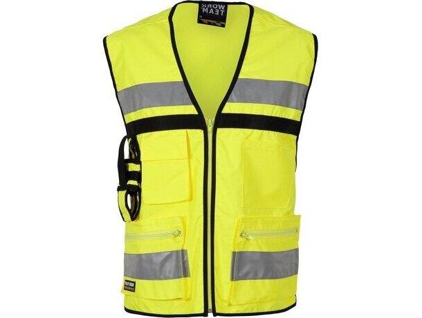 Chaleco de seguridad con multolsillos personalizado amarillo