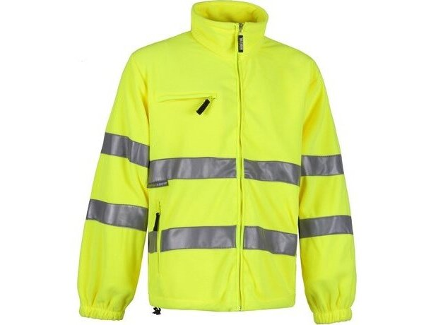 Polar con bandas reflectantes y cuello alto personalizado amarillo