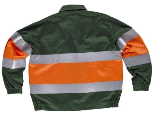 Cazadora con reflectantes y cuello camisero verde oscuro naranja a.v.