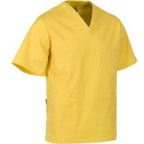Casaca de color con cuello de pico personalizada amarilla