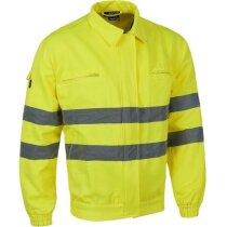 Chaqueta monocolor con reflectantes y bolsillos personalizada amarilla