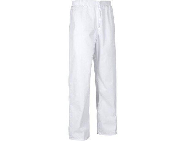 Pantalón de algodón liso recto blanco