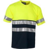 Camiseta en dos colores con bandas reflectantes personalizada amarilla