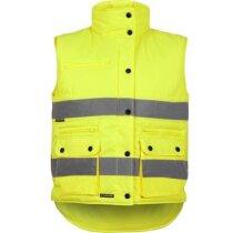 Chaleco acolchado con bolsillos de alta visibilidad personalizado amarillo
