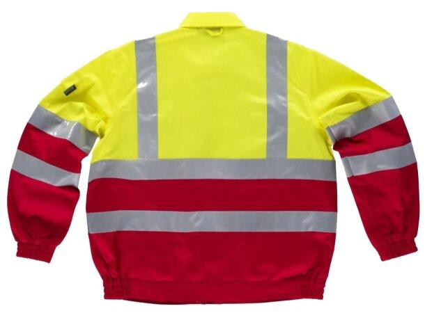 Cazadora de algodón bicolor con reflectantes rojo amarillo a.v.
