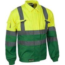 Cazadora de algodón bicolor con reflectantes personalizada verde