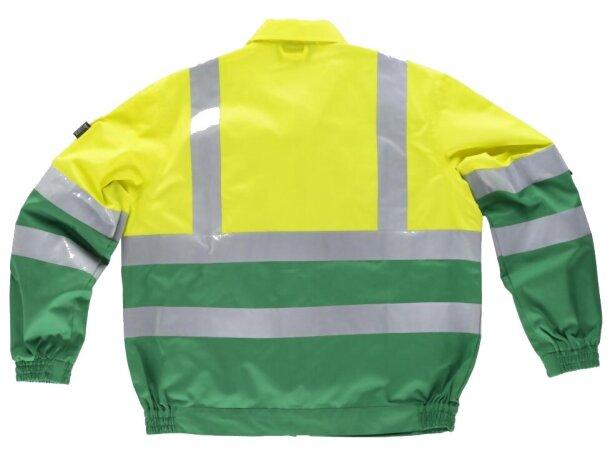 Cazadora de algodón bicolor con reflectantes verde amarillo a.v.