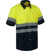 Camisa de alta visibilidad de manga corta bicolor personalizada amarilla