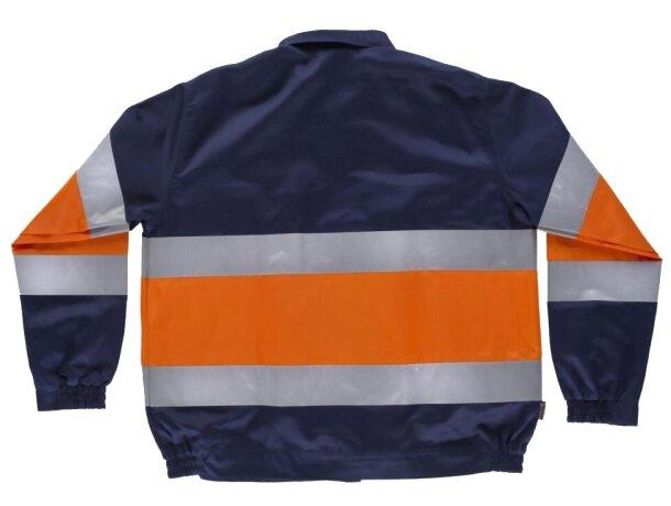 Cazadora con reflectantes y cuello camisero marino naranja a.v.