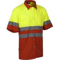 Camiseta bicolor con botones y bandas reflectantes roja barata