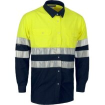 Camisa bicolor de alta visibilidad de manga larga amarilla