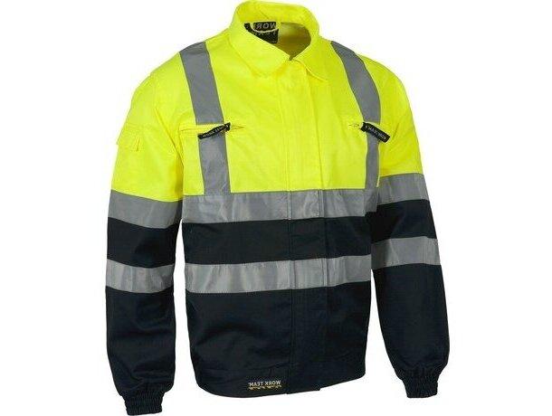 Cazadora bicolor con reflectante y bolsillos personalizada amarilla