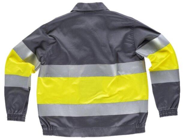 Cazadora con reflectantes y cuello camisero gris amarillo a.v.