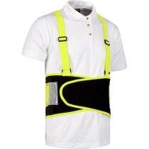 Faja de protección lumbar con tirantes amarilla