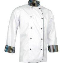 Casaca de cocina con detalles a rayas personalizada blanca
