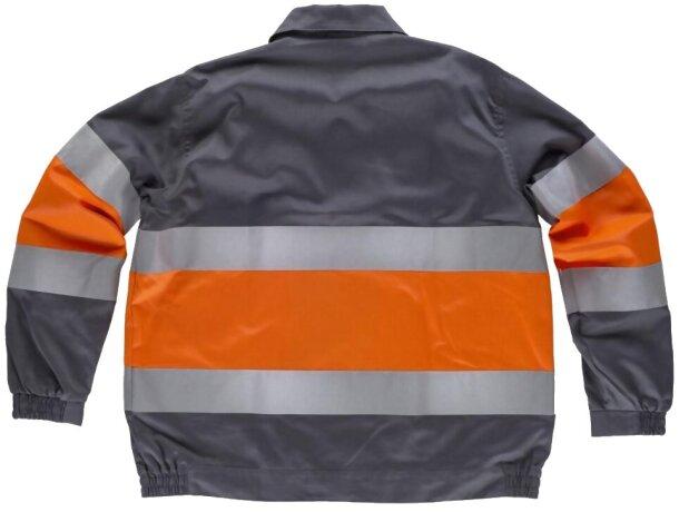 Cazadora con reflectantes y cuello camisero gris naranja a.v.