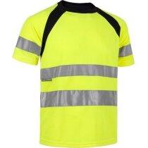 Camiseta de poliester combinada de alta visibildad amarilla
