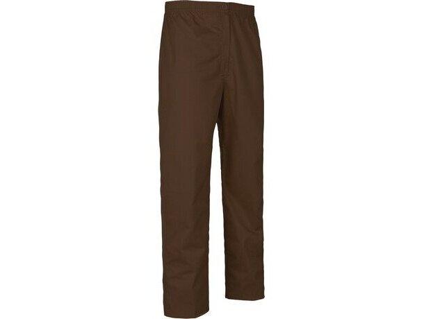 Pantalón de algodón liso recto marron