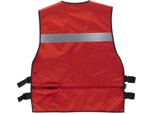 Chaleco de seguridad con multolsillos rojo