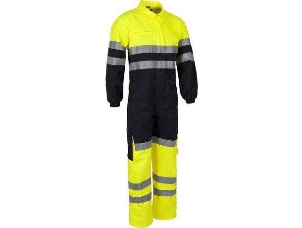 Buzo completo con bolsillos y líneas reflectantes amarillo