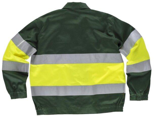 Cazadora con reflectantes y cuello camisero verde oscuro amarillo a.v.