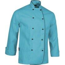 Casaca de colores vivos con botones personalizada azul claro