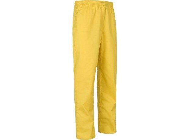 Pantalón de algodón liso recto amarillo