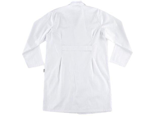 Bata de manga larga con cierre de velcro blanco