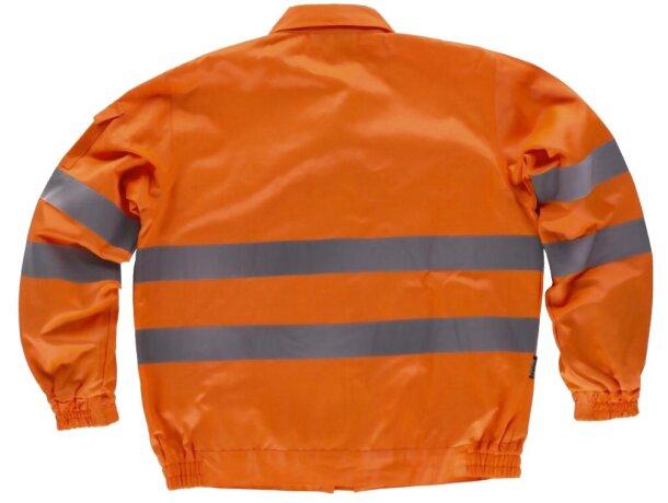 Chaqueta monocolor con reflectantes y bolsillos naranja a.v.