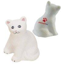 Gato antiestrés en color blanco personalizado