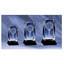 Trofeo de cristal con bola de golf personalizado