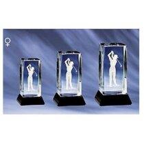 Trofeo de cristal golfista mujer personalizado
