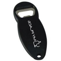 Abrebotellas ovalado de plástico personalizado negro