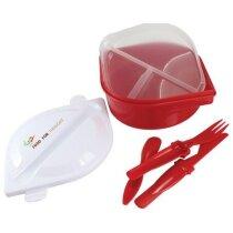 Fiambrera de plástico con compartimentos separados personalizada roja