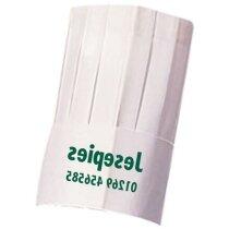Gorro alto para restaurante en papel personalizado blanco