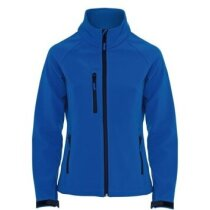 Chaqueta de soft shell entallada de mujer personalizada azul