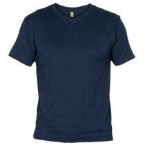 Camiseta manga corta de roly cuello V Samoyedo personalizada azul