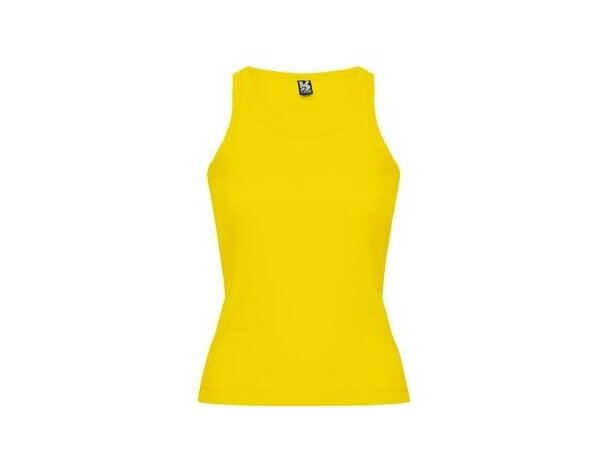 Camiseta de mujer sin mangas ebtallada amarilla