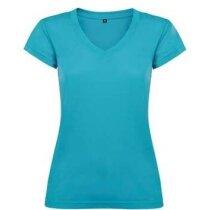 Camiseta de mujer cuello V de Valento personalizada azul