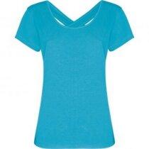 Camiseta de mujer cuello amplio 180 gr personalizada azul claro
