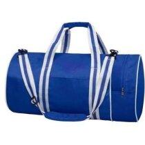 Bolsa deportiva de diseño cilíndrico personalizada azul